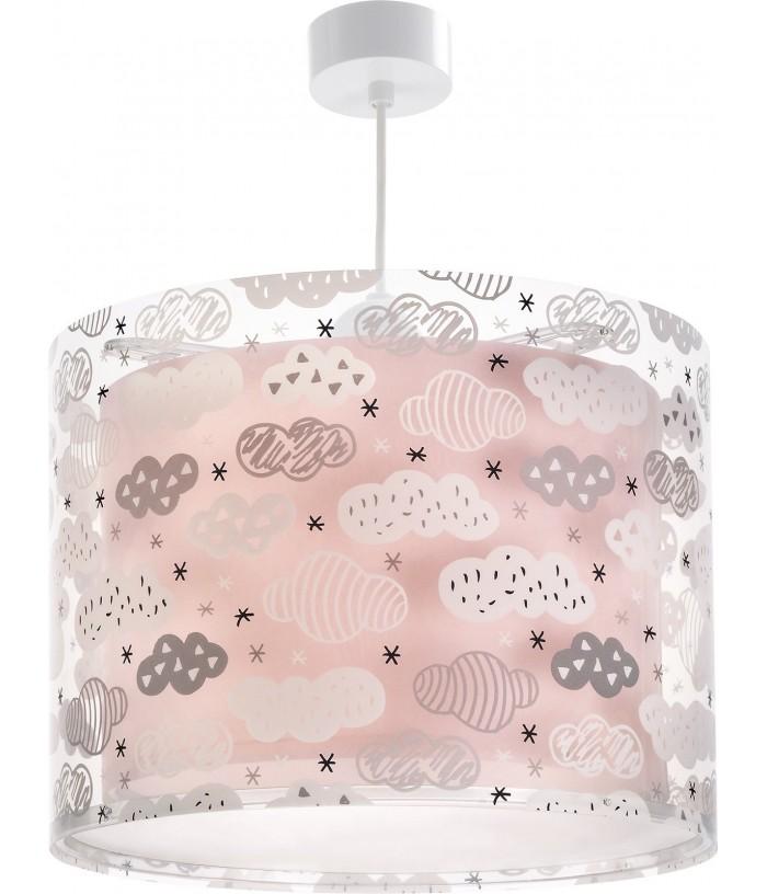 Candeeiro infantil de teto Clouds rosa