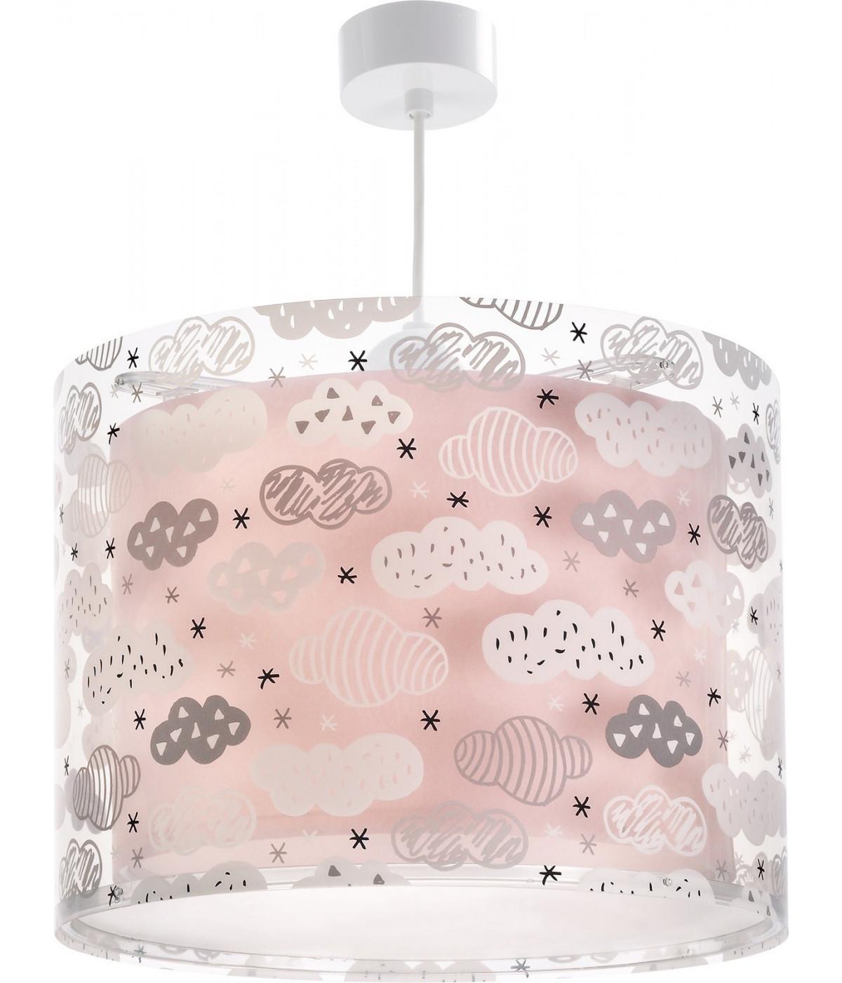 Candeeiro infantil de tecto Clouds rosa