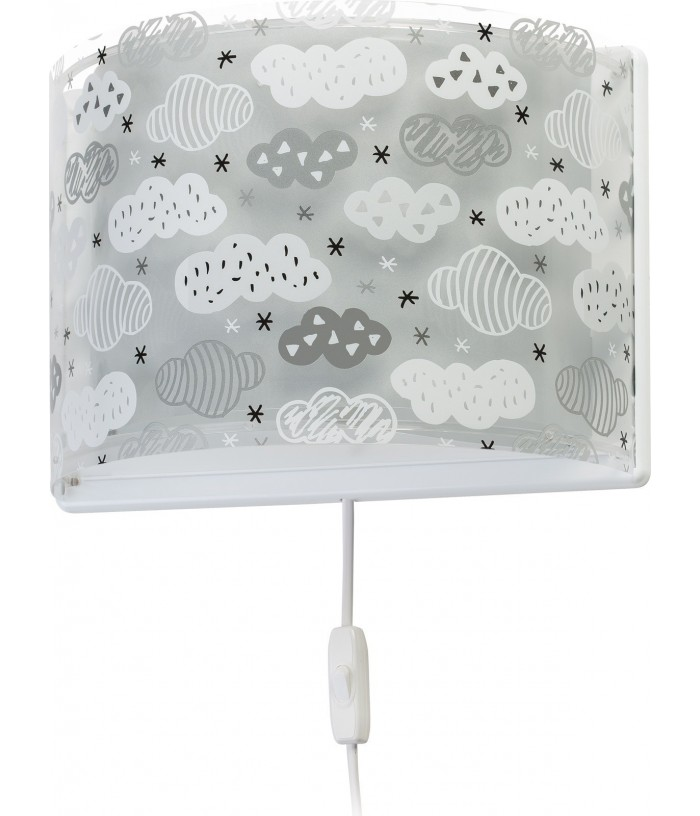 Aplique infantil de pared Clouds gris