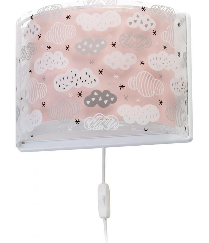 Arandela De Parede Infantil Clouds Rosa