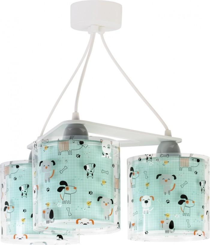 Candeeiro infantil de tecto três luzes Happy Dogs