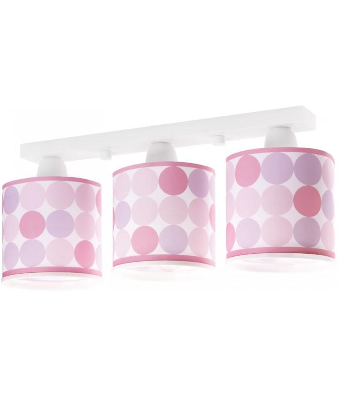 Plafoniera per bambini a 3 luci Colors rosa
