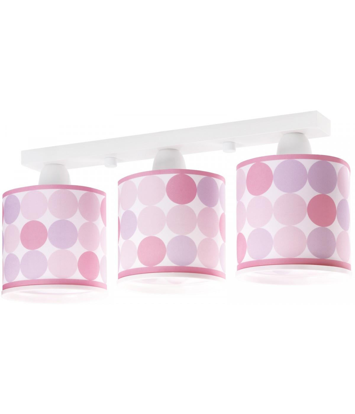 Lámpara Infantil de techo Plafón Infantil 3 Luces Colors Rosa