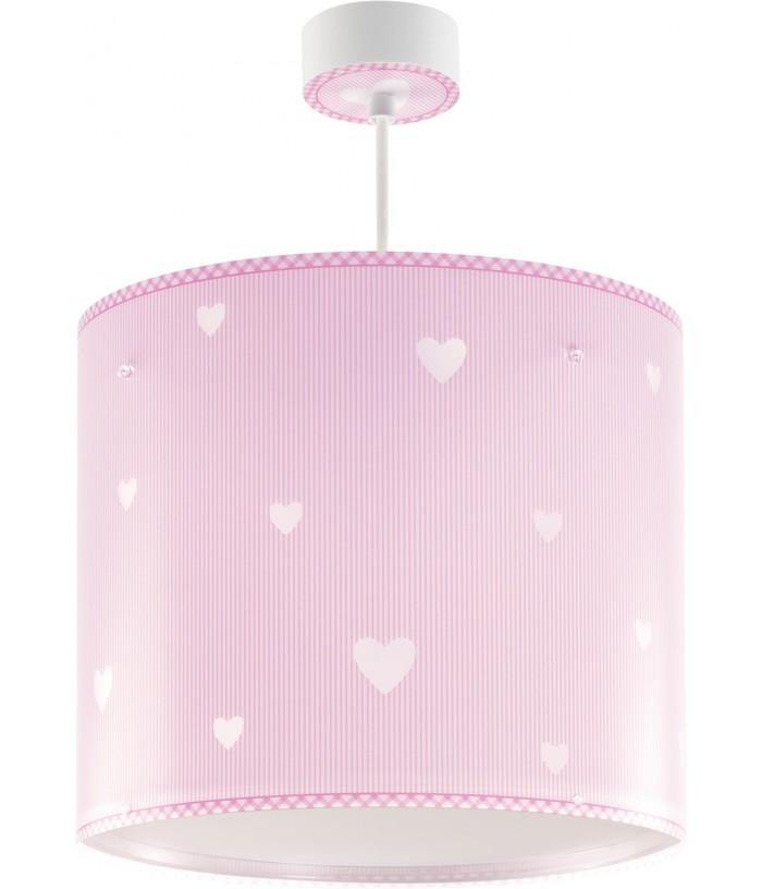 Candeeiro infantil de tecto com corações Sweet Dreams rosa