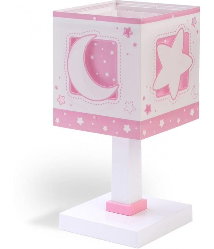 Lampada da comodino per bambini Moonlight rosa