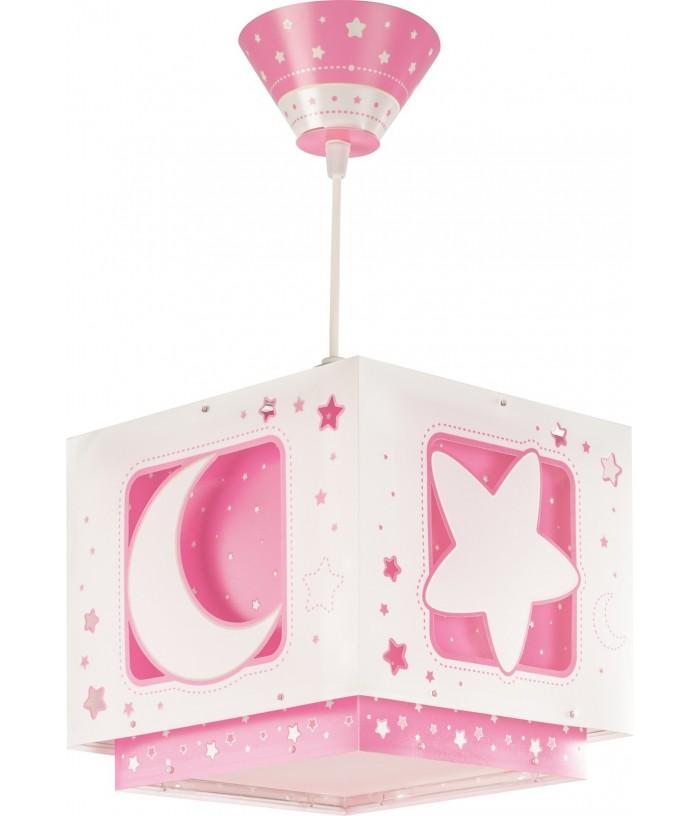 Lampada da soffitto per bambini con luna e stelle Moonlight rosa