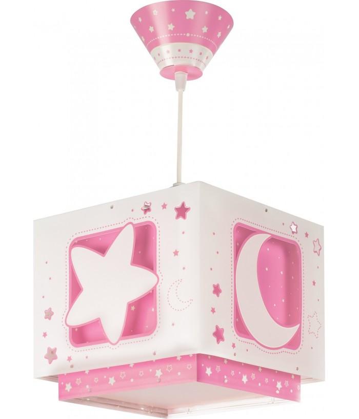 Candeeiro infantil de teto Moonlight rosa