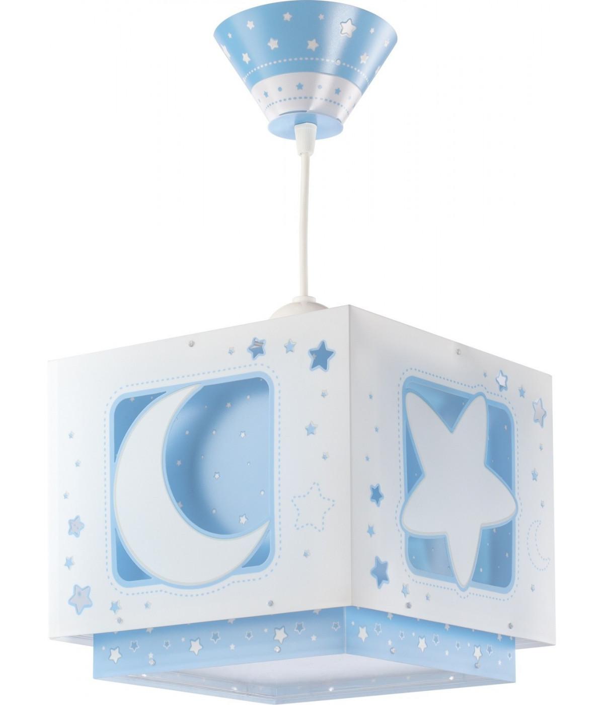 Candeeiro infantil de tecto luas e estrelas Moonlight azul