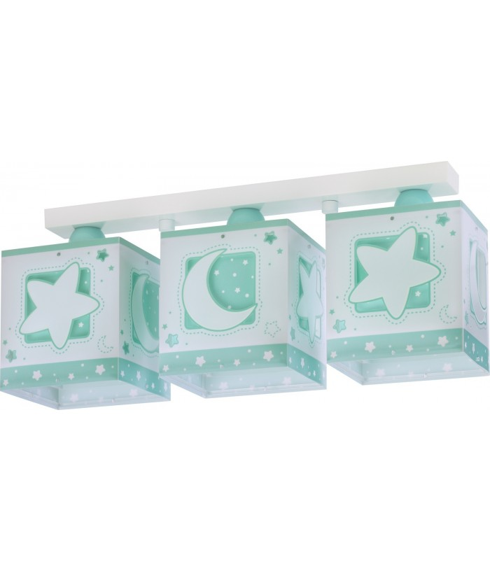 3 light Kids ceiling lamp Moonlight green
