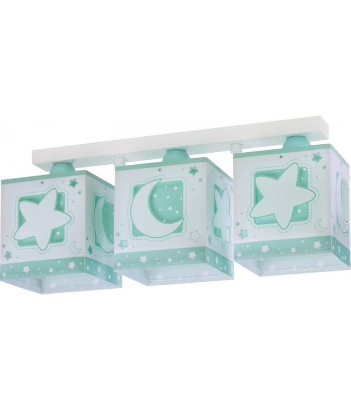Plafón infantil de techo 3 luces Moonlight verde