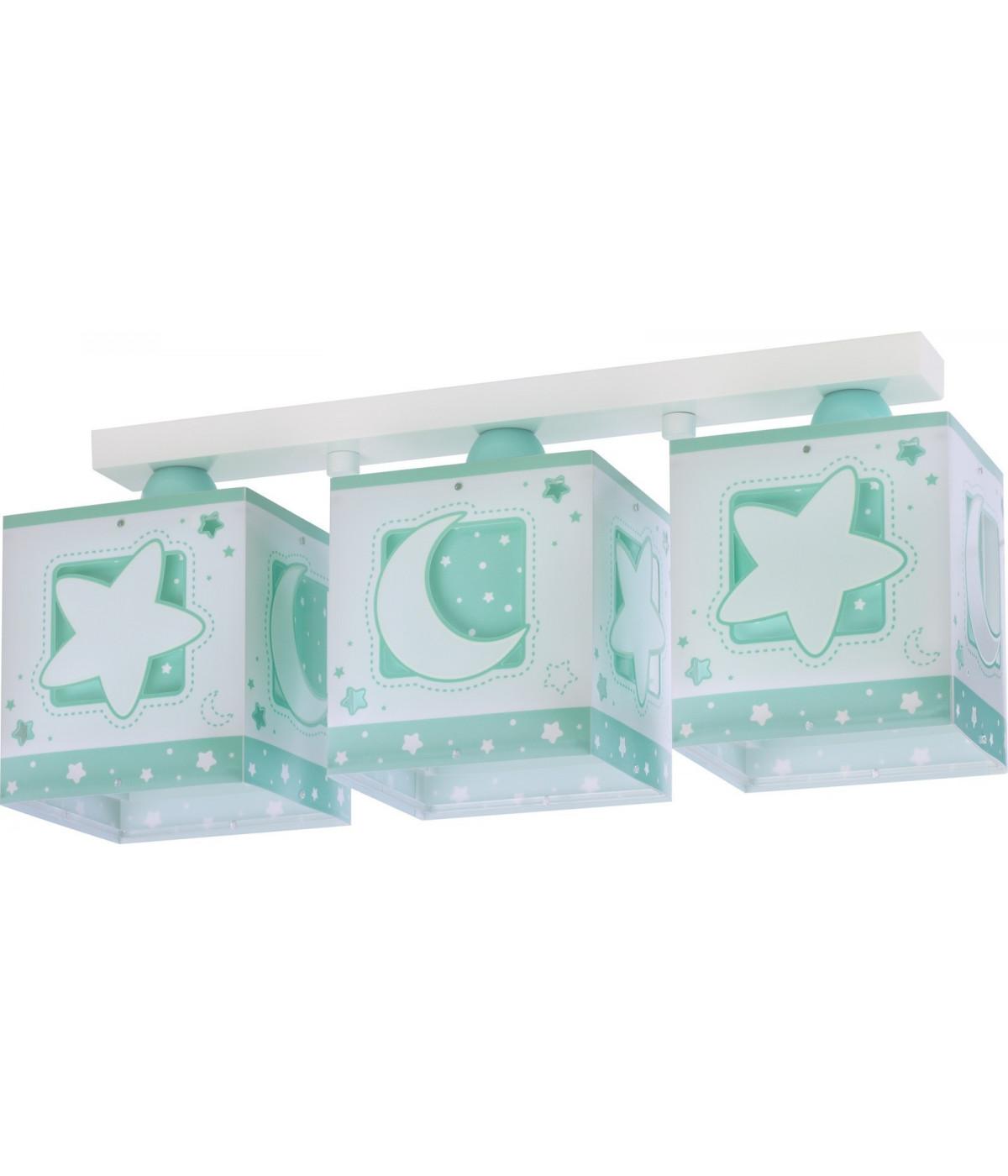 Lámpara Infantil de techo Plafón 3 Luces Moonlight Verde