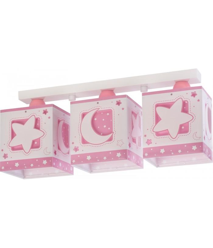 Plafón infantil de techo 3 luces Moonlight rosa