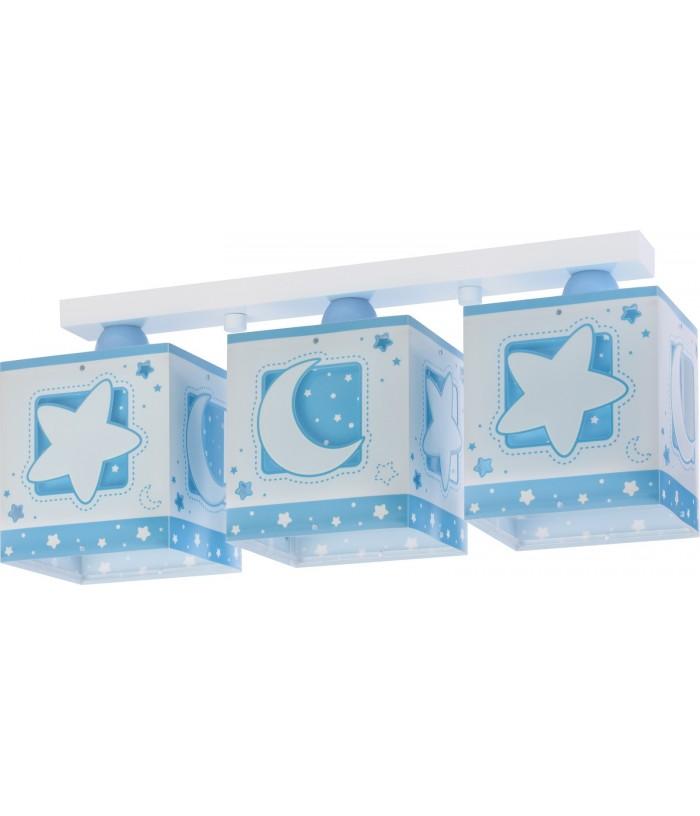 Plafoniera per bambini a 3 luci Moonlight blu