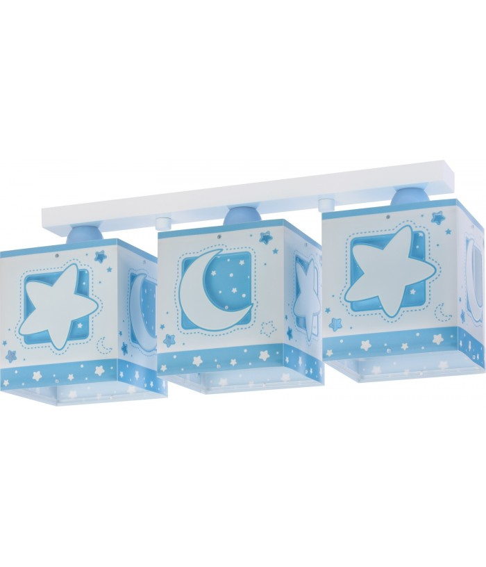 Candeeiro plafon três Luzes Moonlight azul