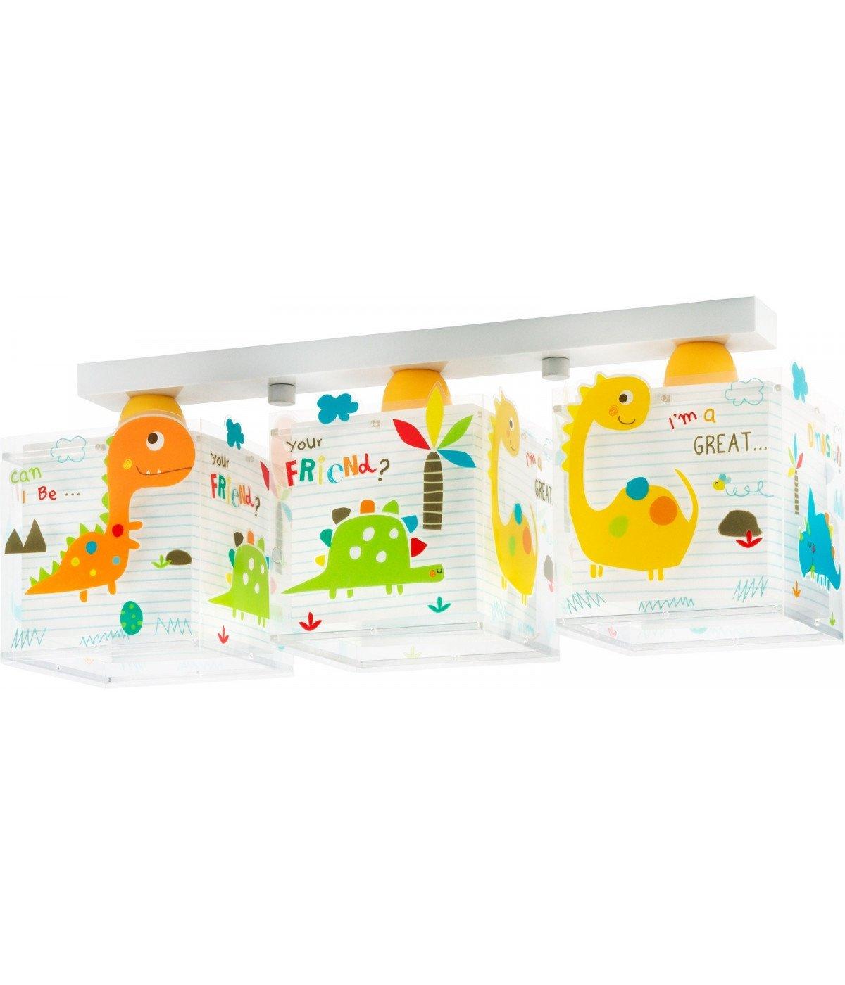 Lámpara Infantil de techo Plafón 3 Luces Dinos