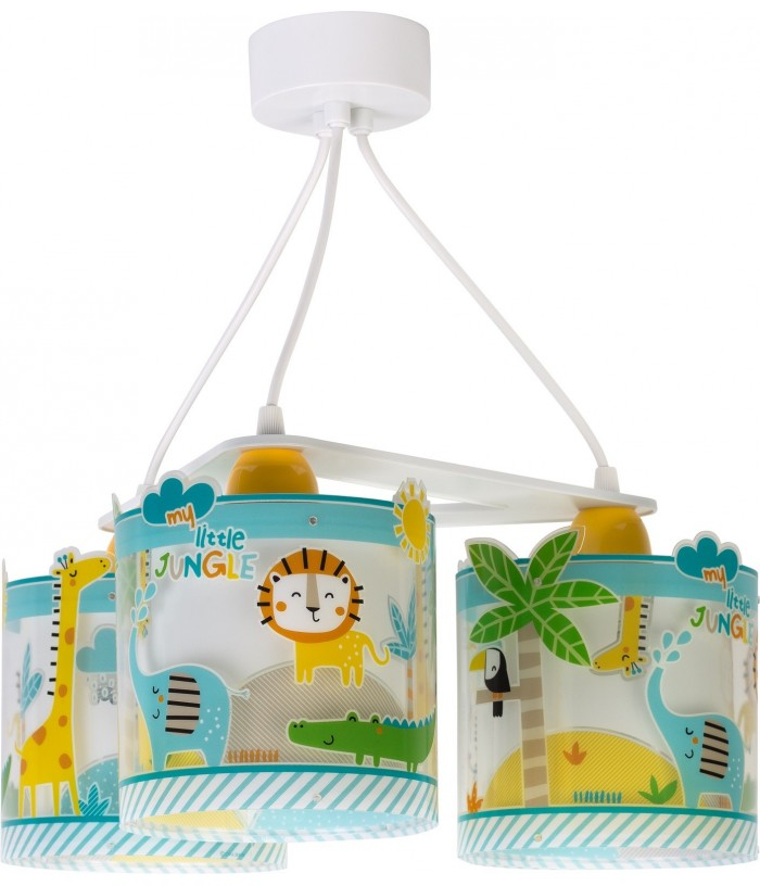 Candeeiro infantil de teto três luzes Little Jungle