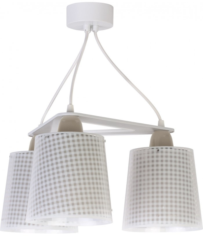 3 light Kids Hanging lamp Vichy light brown