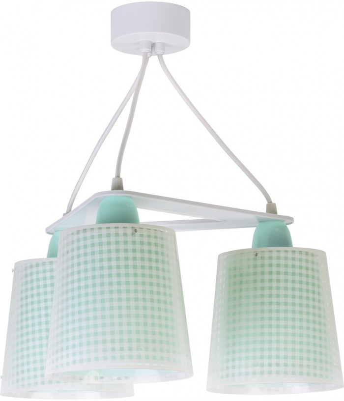 3 light Kids Hanging lamp Vichy green