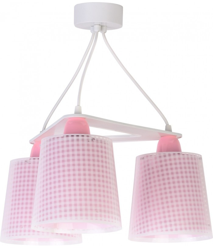 Children 3 light hanging lamp Vichy pink