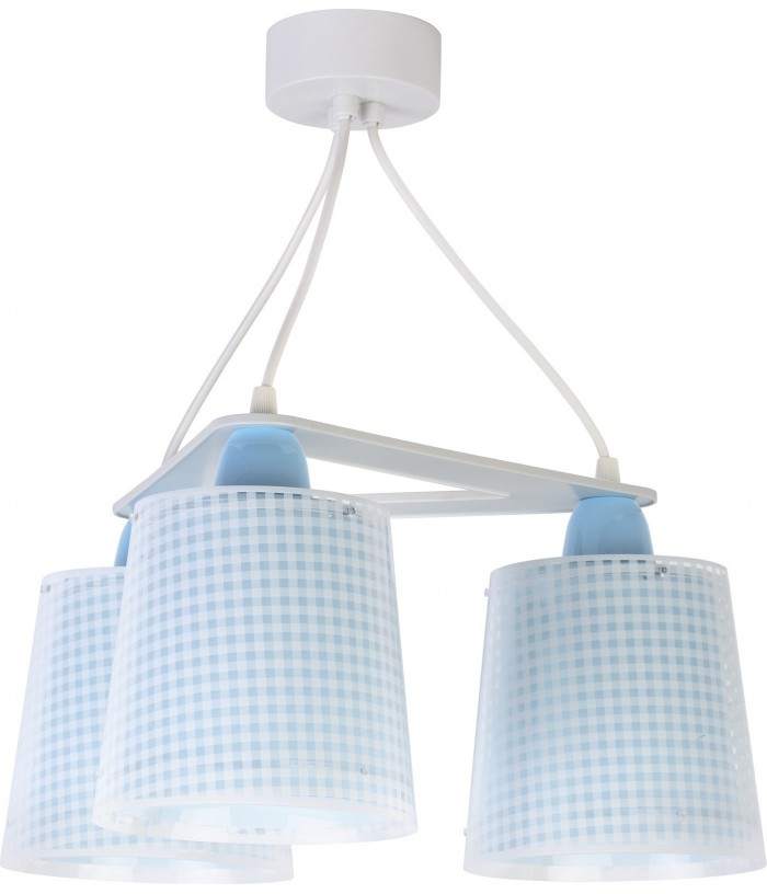 Children 3 light hanging lamp Vichy blue