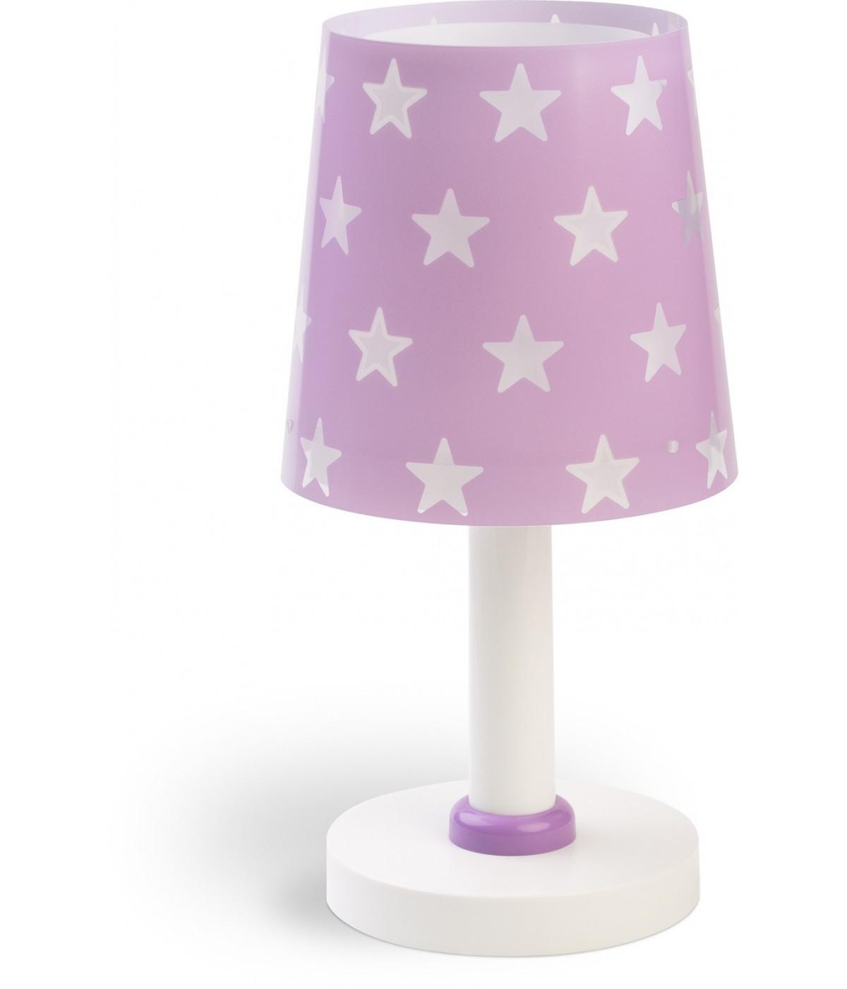 Candeeiro infantil de mesa com estrelas Stars malva