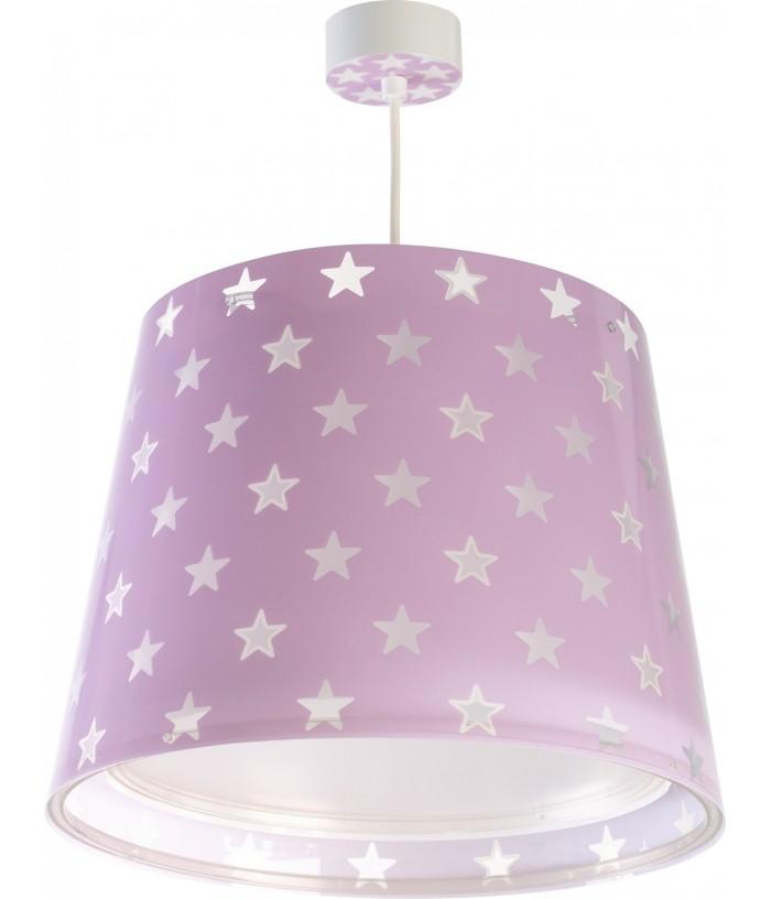 Lámpara infantil de techo Stars malva