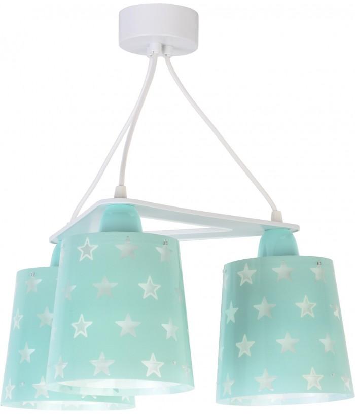 Candeeiro infantil de tecto de três luzes Stars verde