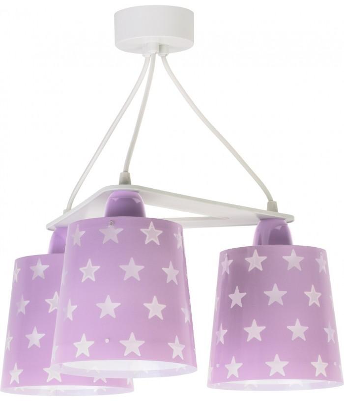 Candeeiro infantil de tecto três luzes Stars malva