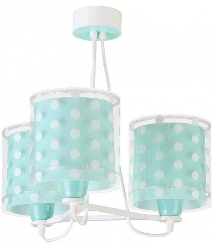 Children hanging lamp with 3 light turquoise