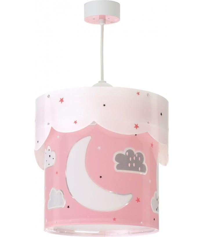 Candeeiro infantil de tecto com luaMoon rosa