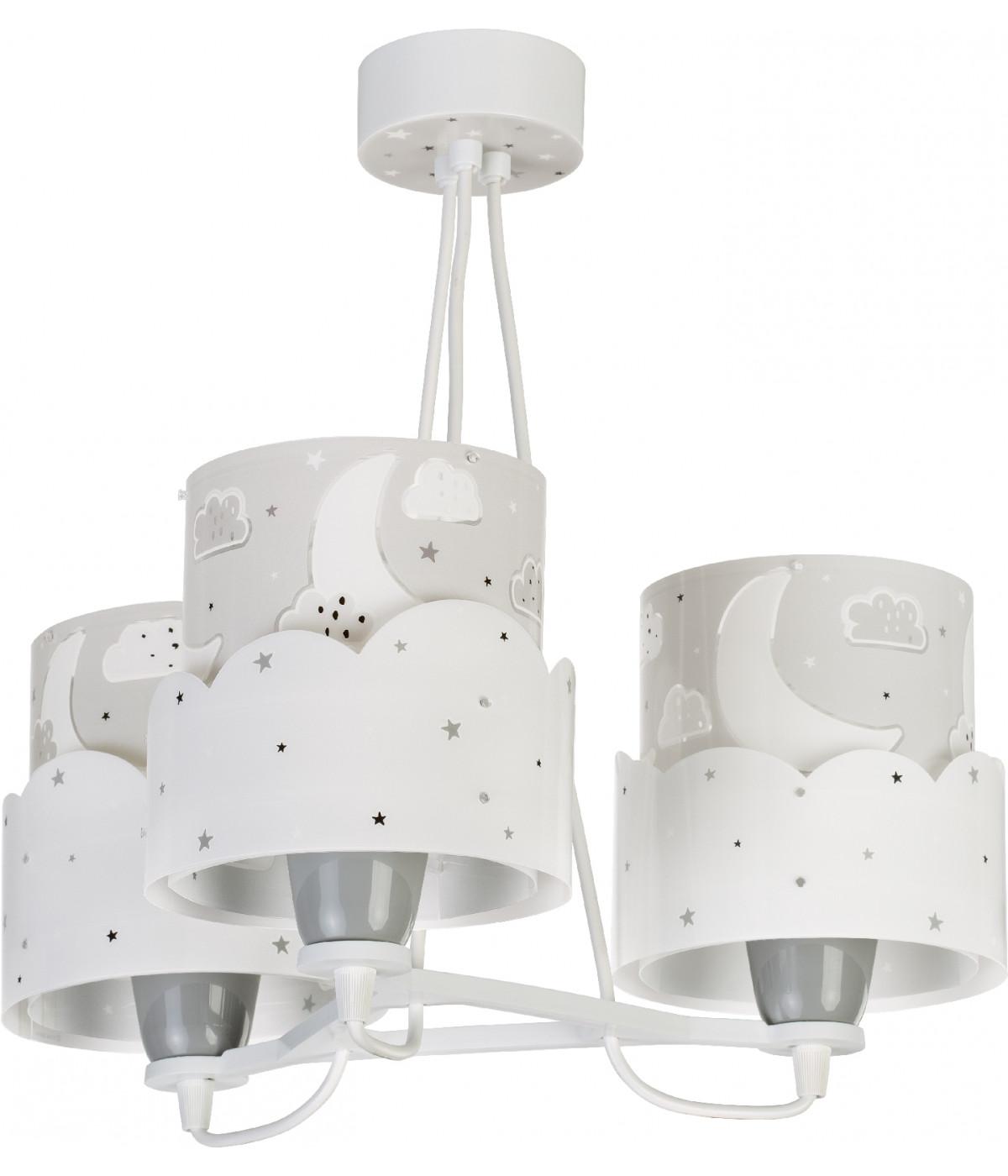 Candeeiro infantil pendente de três luzesMoon Cinza