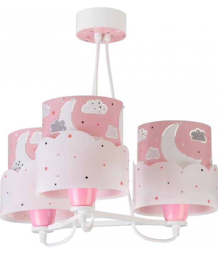 Candeeiro infantil de tecto três luzesMoon rosa