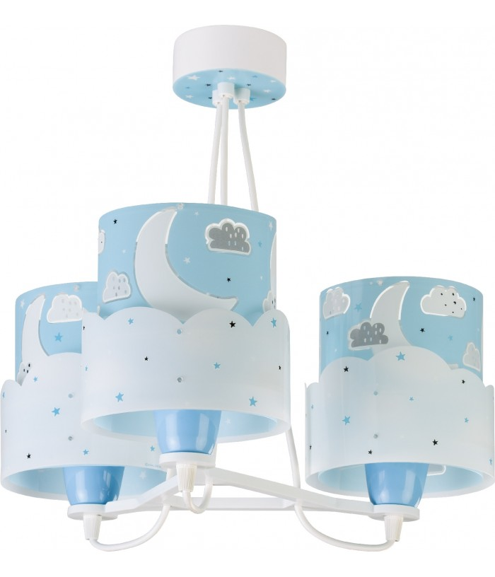 3 light Hanging lamp for Kids Moon blue