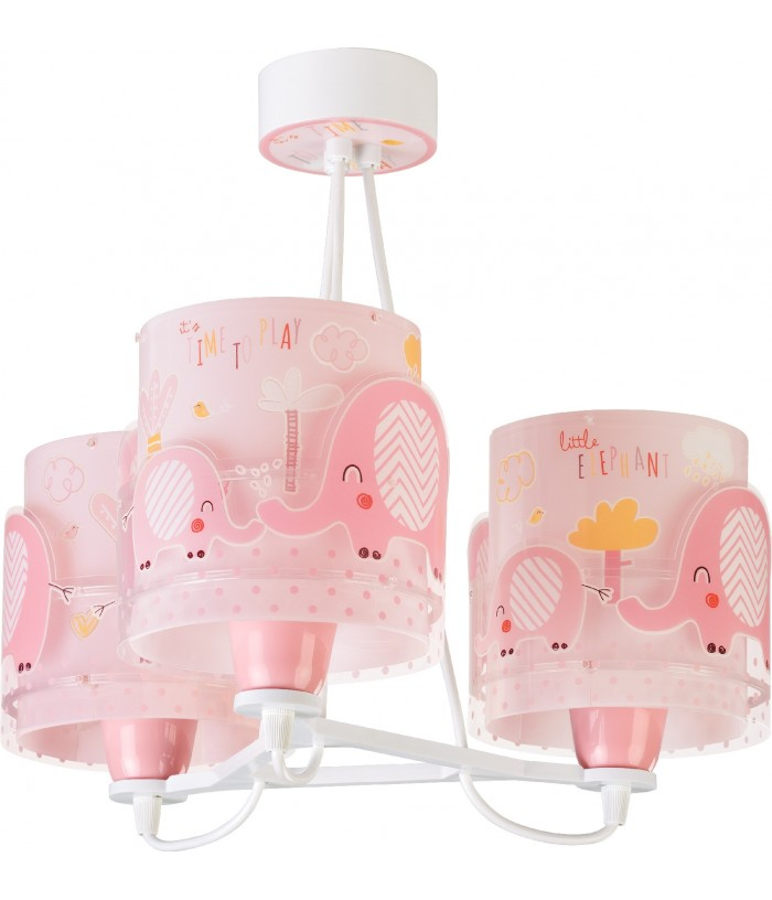 Candeeiro infantil pendente de três luzes Little Elephant rosa