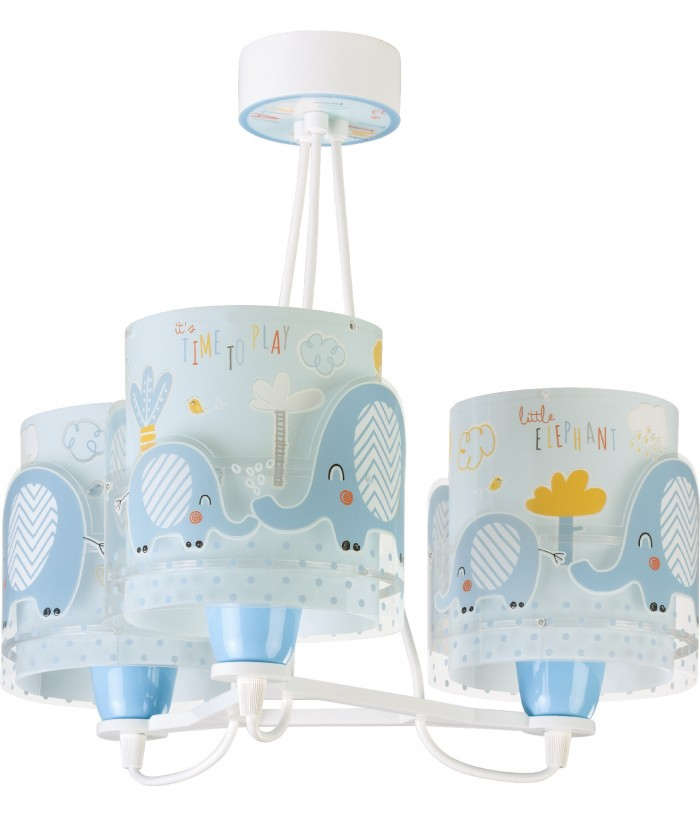 Lámpara infantil de techo 3 luces Little Elephant azul