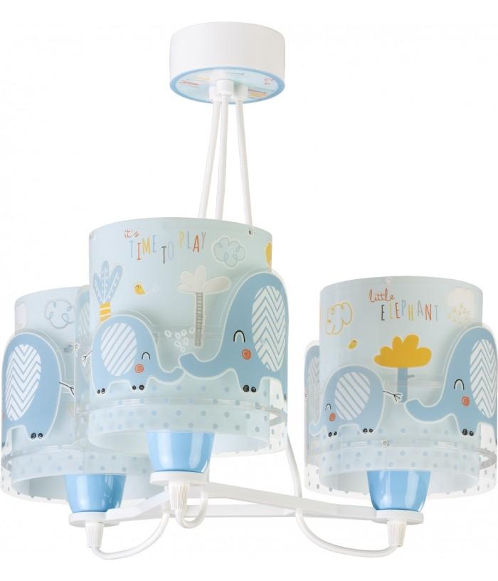 Candeeiro infantil pendente de três Luzes Little Elephant azul