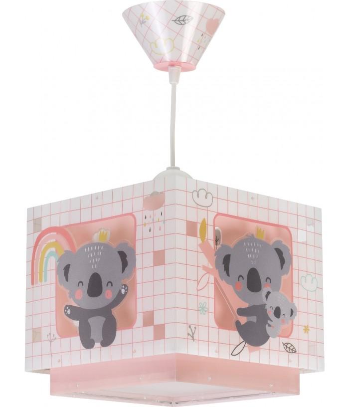 Candeeiro infantil de tecto Koala rosa
