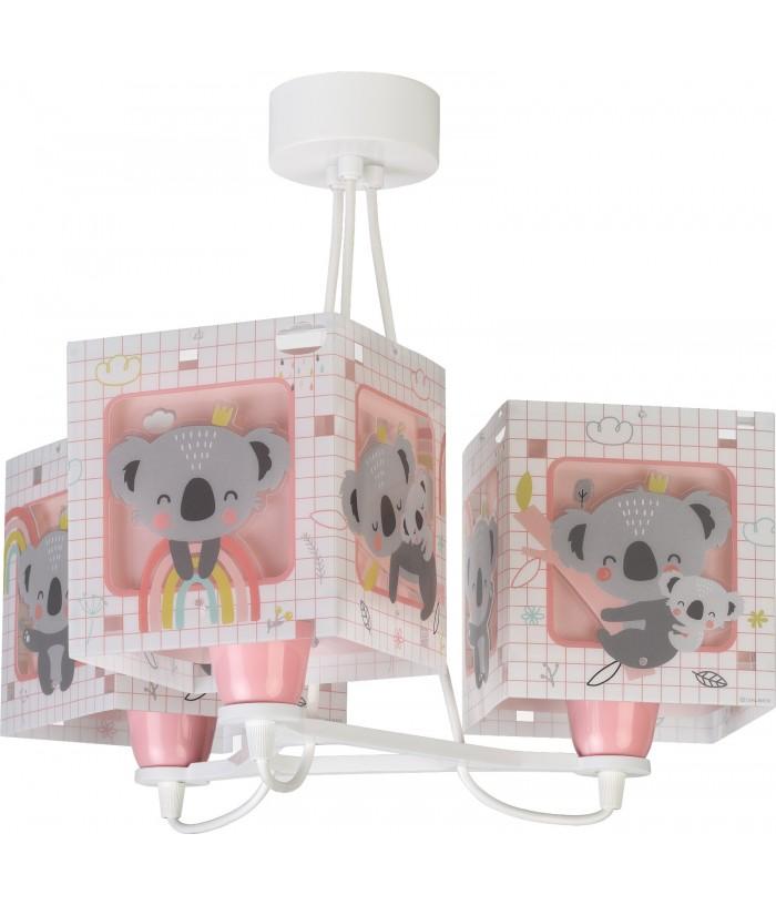 Candeeiro infantil pendente de três luzes Koala rosa