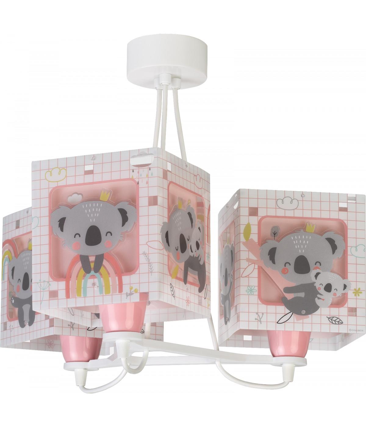 Luminária Infantil Pendente De Três Luzes Koala Rosa
