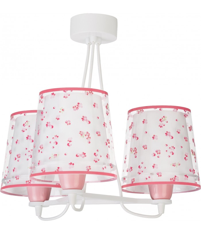 Lámpara infantil de techo 3 luces Dream Flowers rosa