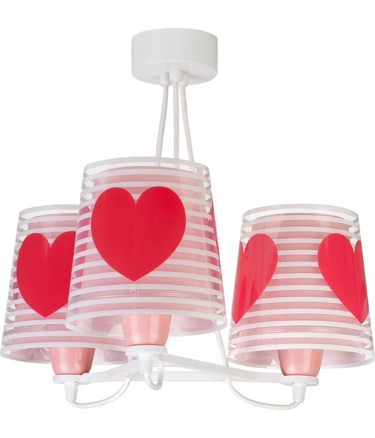 Candeeiro infantil de teto três luzes Light Feeling rosa