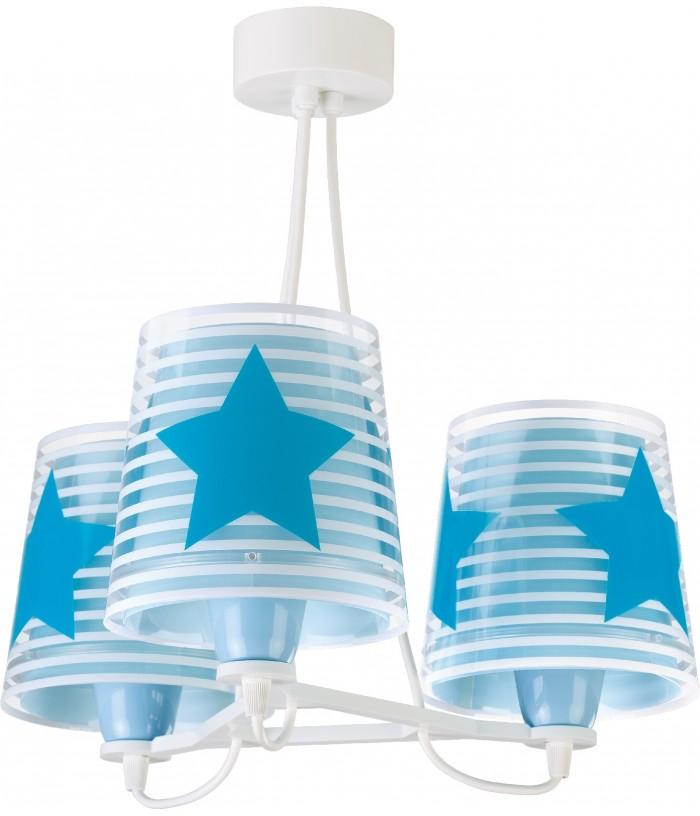 Candeeiro infantil de teto três luzes Light Feeling azul