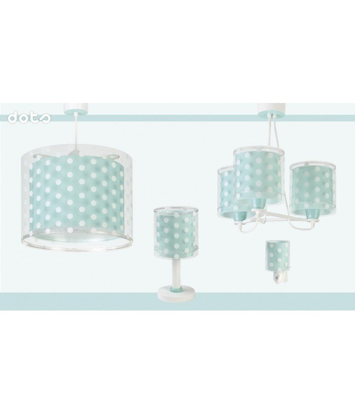 Hanging lamp for Kids Dots turquoise blue