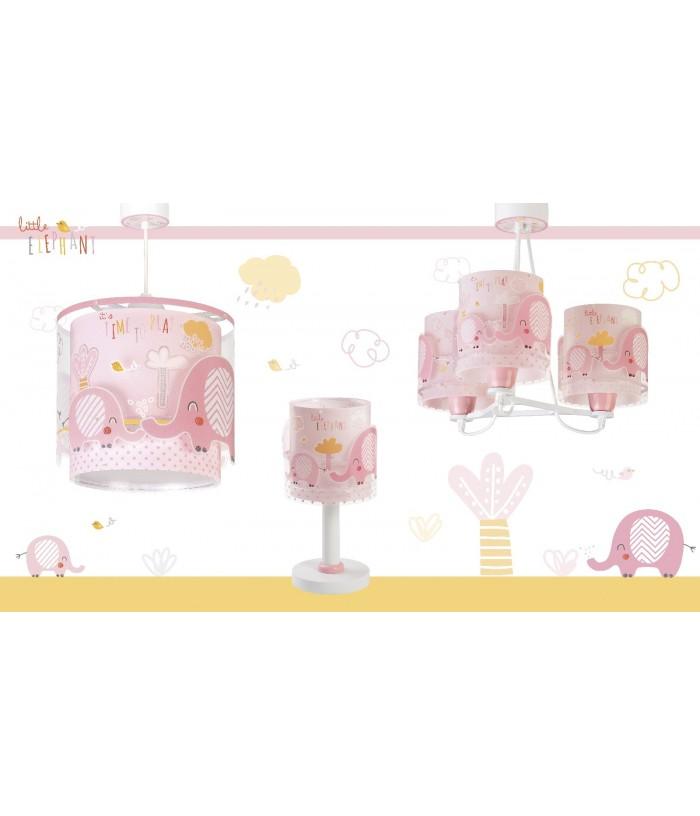 Candeeiro infantil de tecto de três luzes Little Elephant rosa