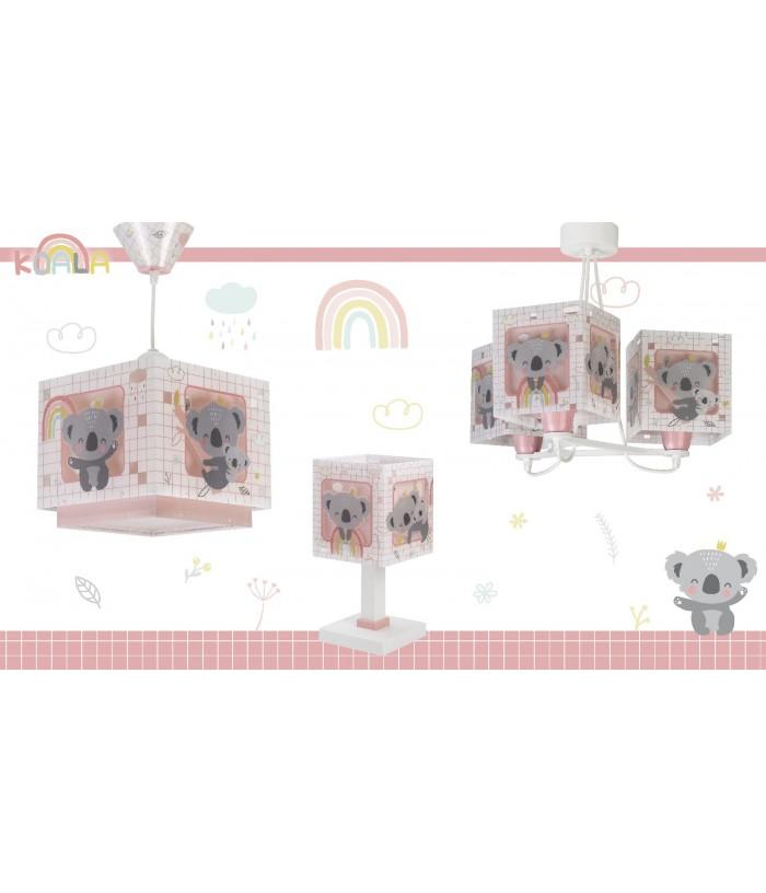 Lámpara de mesita infantil Koala rosa