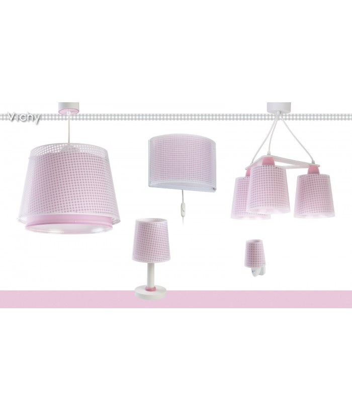 Children table lamp Vichy pink