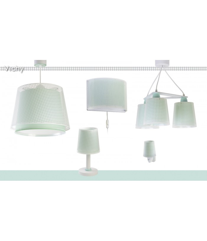 Children's hanging lamp Vichy green