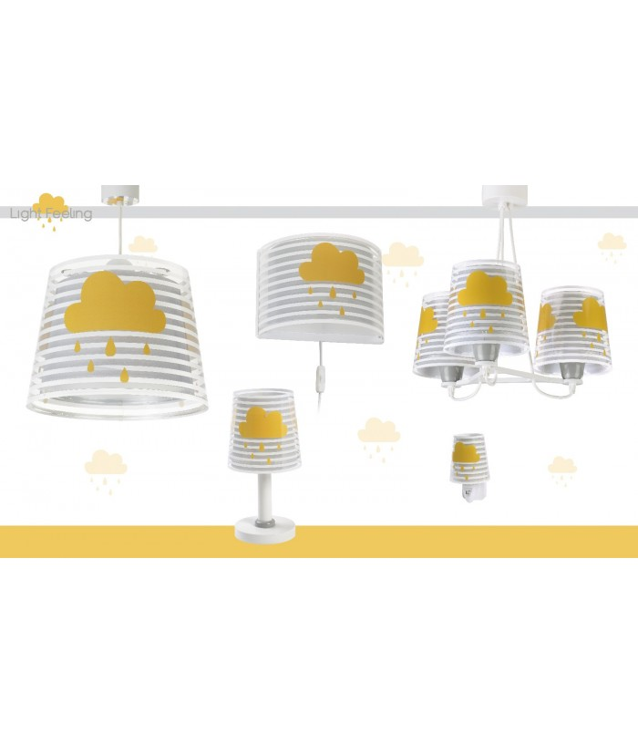 Candeeiro infantil de teto três luzes Light Feeling cinza