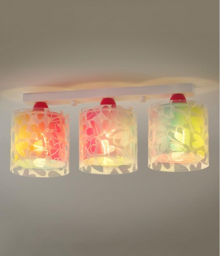 Plafoniera per bambini 3 luci Cuore