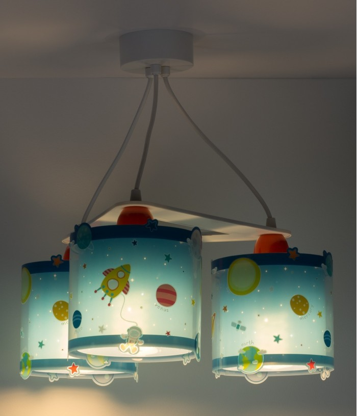Children 3 light hanging lamp Planets